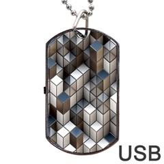 Cube Design Background Modern Dog Tag USB Flash (One Side)