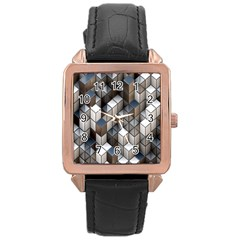 Cube Design Background Modern Rose Gold Leather Watch