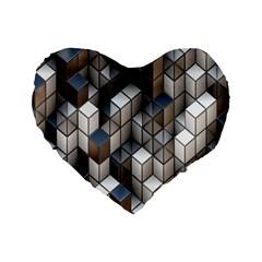Cube Design Background Modern Standard 16  Premium Flano Heart Shape Cushions