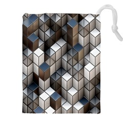Cube Design Background Modern Drawstring Pouches (xxl)