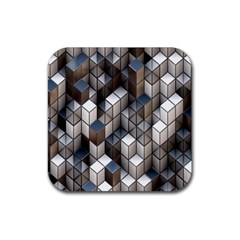 Cube Design Background Modern Rubber Square Coaster (4 pack)