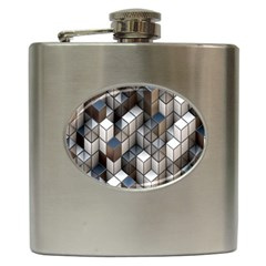 Cube Design Background Modern Hip Flask (6 oz)