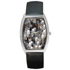 Cube Design Background Modern Barrel Style Metal Watch