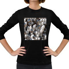 Cube Design Background Modern Women s Long Sleeve Dark T-Shirts