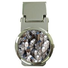 Cube Design Background Modern Money Clip Watches