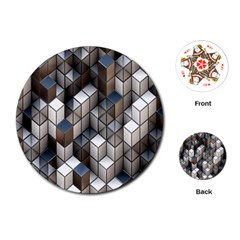 Cube Design Background Modern Playing Cards (Round)
