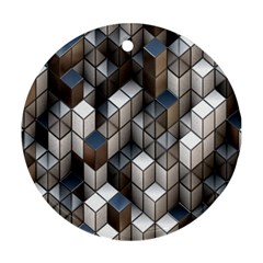Cube Design Background Modern Round Ornament (Two Sides)