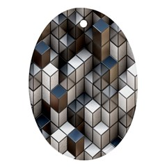 Cube Design Background Modern Oval Ornament (Two Sides)