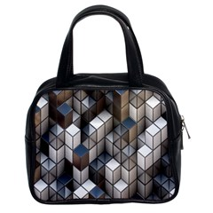 Cube Design Background Modern Classic Handbags (2 Sides)