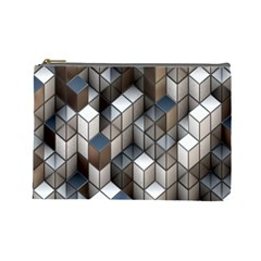 Cube Design Background Modern Cosmetic Bag (Large)