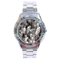 Cube Design Background Modern Stainless Steel Analogue Watch