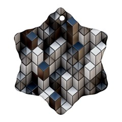Cube Design Background Modern Snowflake Ornament (Two Sides)