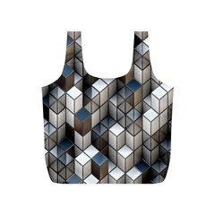 Cube Design Background Modern Full Print Recycle Bags (s)