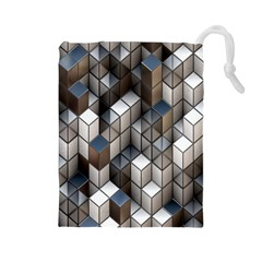 Cube Design Background Modern Drawstring Pouches (large)