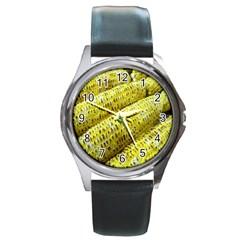 Corn Grilled Corn Cob Maize Cob Round Metal Watch