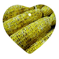 Corn Grilled Corn Cob Maize Cob Heart Ornament (Two Sides)