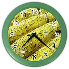Corn Grilled Corn Cob Maize Cob Color Wall Clocks