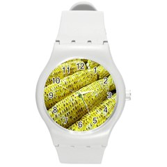 Corn Grilled Corn Cob Maize Cob Round Plastic Sport Watch (M)