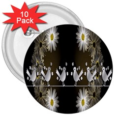 Daisy Bird  3  Buttons (10 pack)