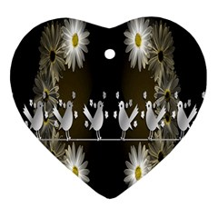 Daisy Bird  Heart Ornament (Two Sides)