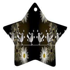 Daisy Bird  Star Ornament (two Sides)