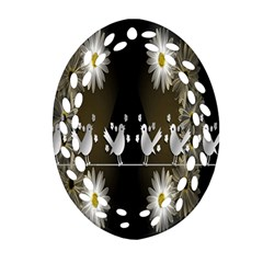 Daisy Bird  Ornament (Oval Filigree)