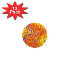 Crazy Patterns In Yellow 1  Mini Magnet (10 Pack)