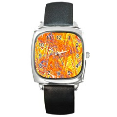 Crazy Patterns In Yellow Square Metal Watch