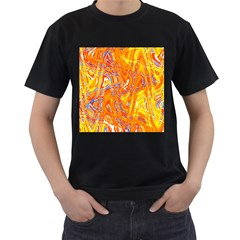 Crazy Patterns In Yellow Men s T-Shirt (Black) (Two Sided)