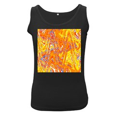 Crazy Patterns In Yellow Women s Black Tank Top