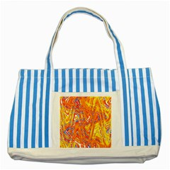 Crazy Patterns In Yellow Striped Blue Tote Bag