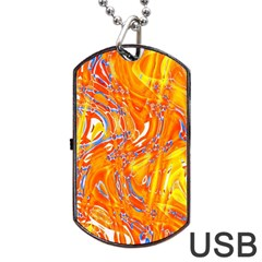 Crazy Patterns In Yellow Dog Tag USB Flash (Two Sides)