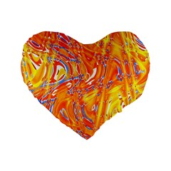 Crazy Patterns In Yellow Standard 16  Premium Heart Shape Cushions