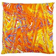 Crazy Patterns In Yellow Large Flano Cushion Case (One Side)