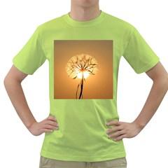 Dandelion Sun Dew Water Plants Green T-Shirt