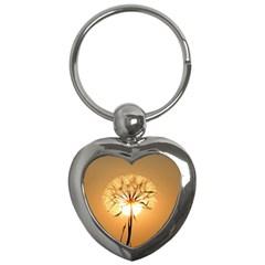 Dandelion Sun Dew Water Plants Key Chains (heart)