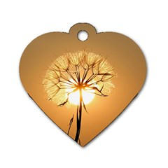 Dandelion Sun Dew Water Plants Dog Tag Heart (Two Sides)