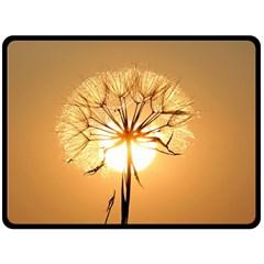Dandelion Sun Dew Water Plants Double Sided Fleece Blanket (Large)