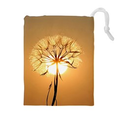 Dandelion Sun Dew Water Plants Drawstring Pouches (Extra Large)