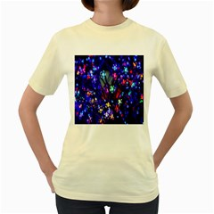 Decorative Flower Shaped Led Lights Women s Yellow T-Shirt