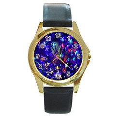 Decorative Flower Shaped Led Lights Round Gold Metal Watch
