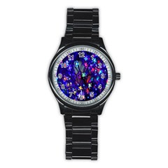 Decorative Flower Shaped Led Lights Stainless Steel Round Watch