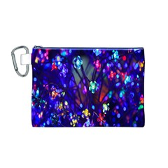 Decorative Flower Shaped Led Lights Canvas Cosmetic Bag (M)