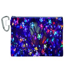 Decorative Flower Shaped Led Lights Canvas Cosmetic Bag (xl)