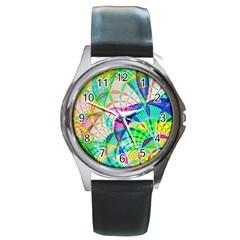 Design Background Concept Fractal Round Metal Watch