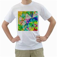Design Background Concept Fractal Men s T-Shirt (White) (Two Sided)