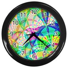 Design Background Concept Fractal Wall Clocks (Black)