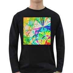 Design Background Concept Fractal Long Sleeve Dark T-Shirts