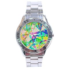 Design Background Concept Fractal Stainless Steel Analogue Watch