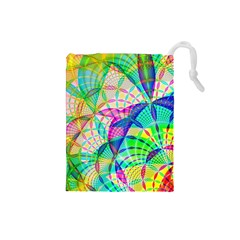 Design Background Concept Fractal Drawstring Pouches (small)